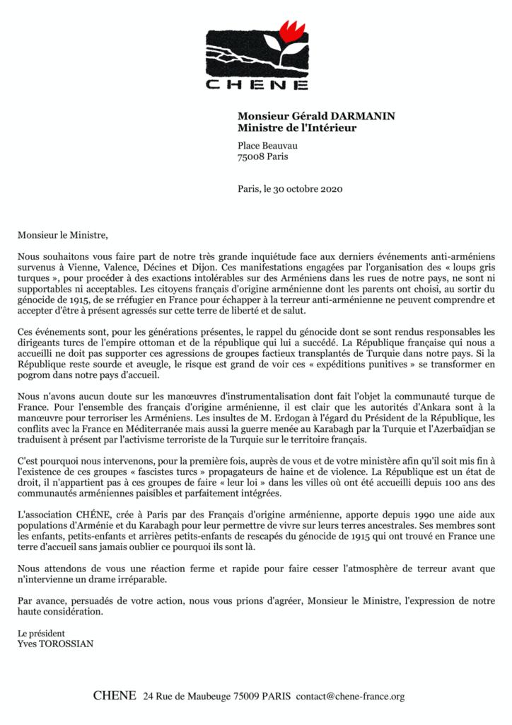 Courier au Ministre de l'Intérieur le 30 octobre 2020