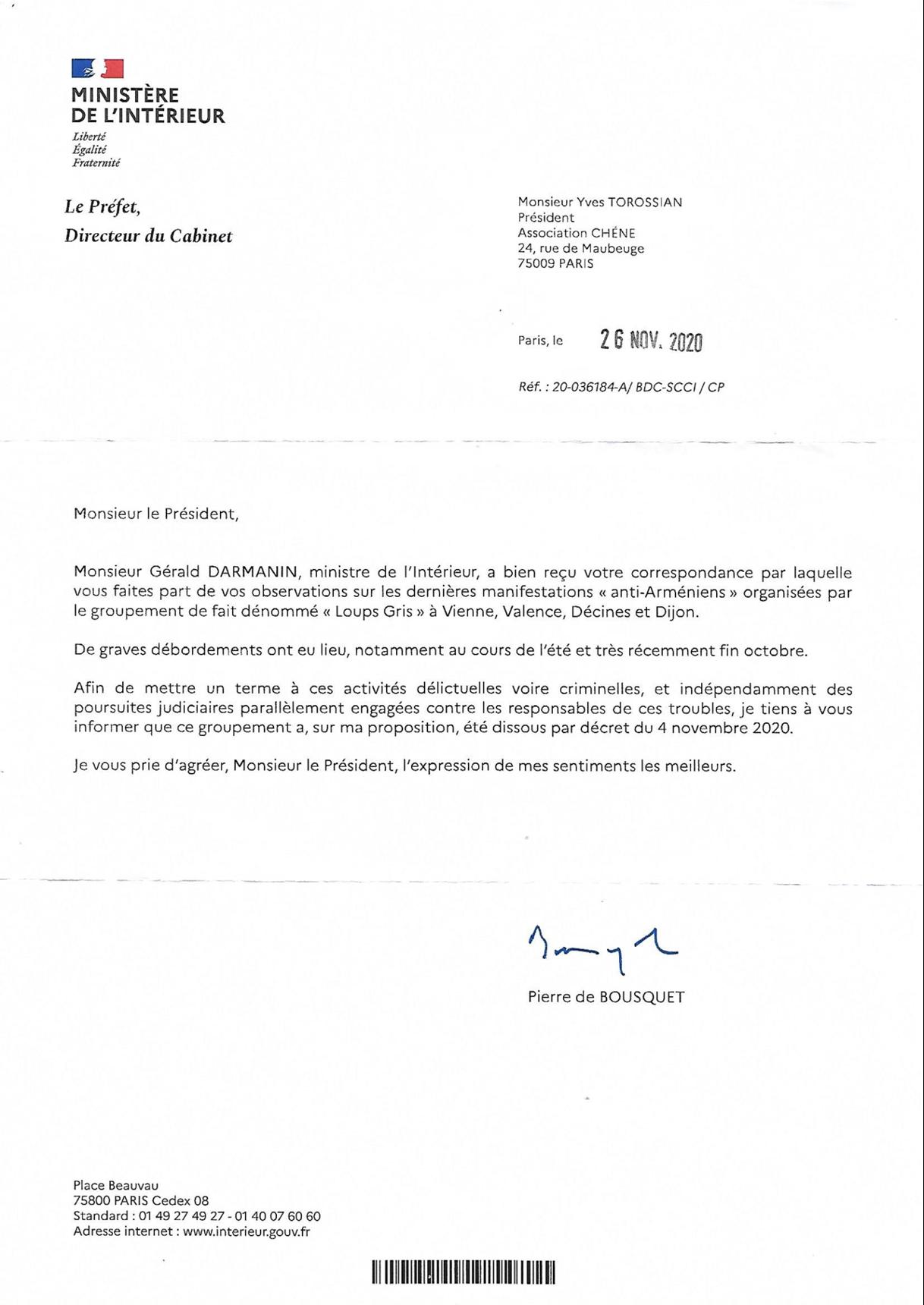 Réponse du Ministère de l'Intérieur le 26 novembre 2020